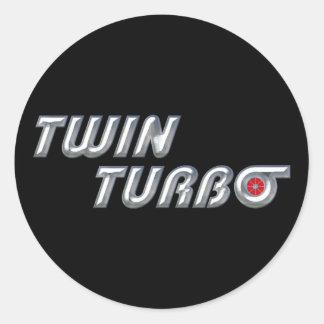 Twin Turbos II Classic Round Sticker