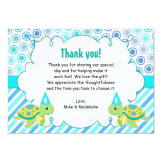 Twin Turtle Girl Boy Thank You Card Note