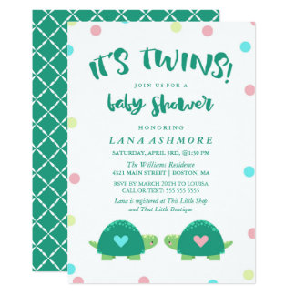 Twin Turtles | Blue Pink Twins Baby Shower Card