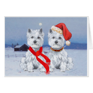 Twin Westies on a Wintry Evening Greeting Card