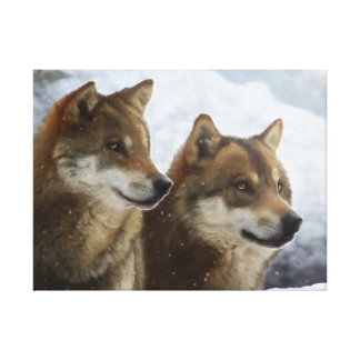 Twin Wolves Canvas Print