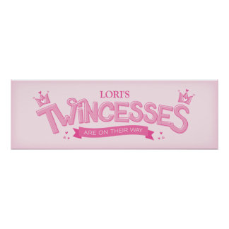 Twincess Twin Girl Baby Shower Poster (Pink)