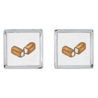 Twinkie Cream-Filled Snack Cake Junk Food Cufflink Silver Finish Cufflinks
