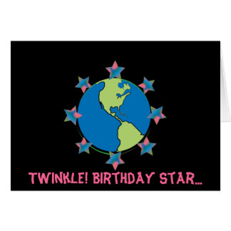 Twinkle Birthday Star!-Customise Greeting Card