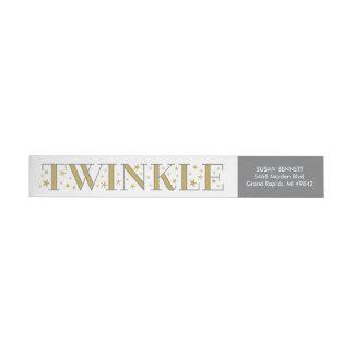 Twinkle Gold Star Baby Shower Return Address Label Wraparound Return Address Label