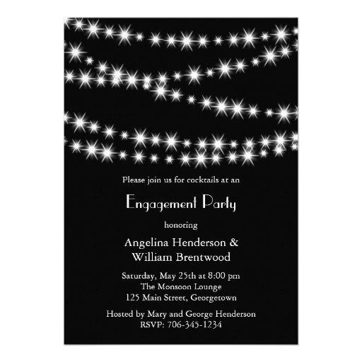 Twinkle Lights Engagement Invitation (black)
