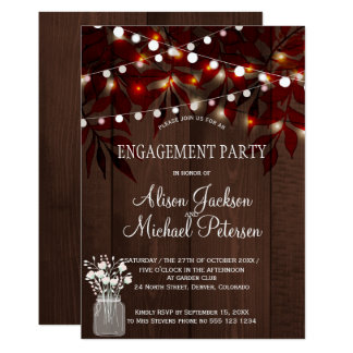 Twinkle lights engagement party rustic fall card