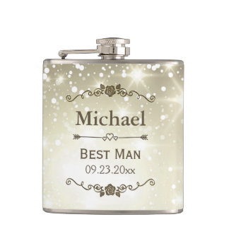 Twinkle Lights Outdoor Wedding Best Man Groomsman Hip Flask