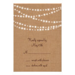 Twinkle Lights RSVP on Burlap Custom Announcements