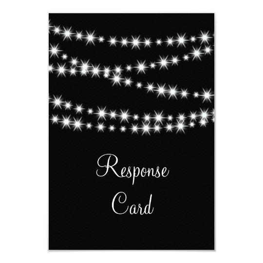 Twinkle Lights RSVP with menu (black) Card
