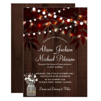Twinkle lights rustic autumn leaves barn wedding card