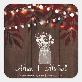 Twinkle lights rustic autumn mason jar wedding square sticker