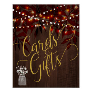 Twinkle lights rustic fall barn wood wedding sign