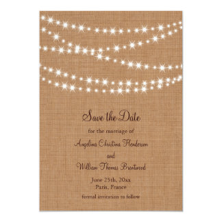 Twinkle Lights Save the Date on Burlap Invite