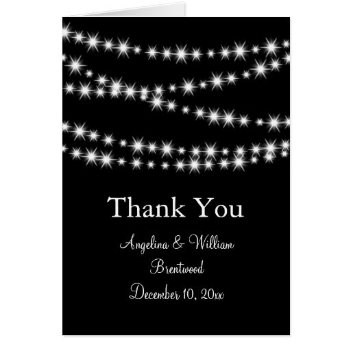 Twinkle Lights Thank You Card (black)