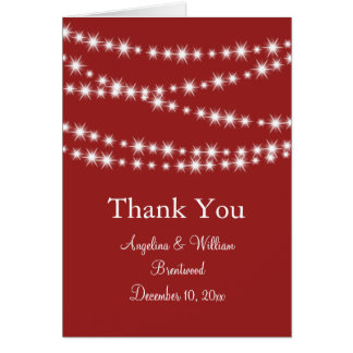 Twinkle Lights Thank You Card (red)