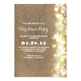 twinkle lights vintage gold Christmas party winter 13 Cm X 18 Cm Invitation Card