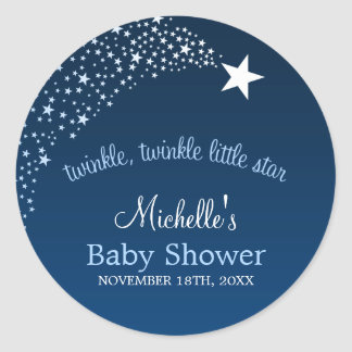 Twinkle Little Shooting Star Baby Shower Round Sticker
