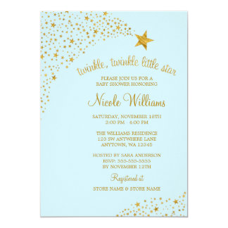 Twinkle Little Shooting Star Gold Blue Baby Shower 13 Cm X 18 Cm Invitation Card