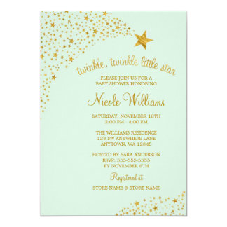 Twinkle Little Shooting Star Gold Mint Baby Shower 13 Cm X 18 Cm Invitation Card