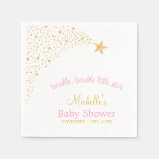 Twinkle Little Shooting Star Gold Pink Baby Shower Disposable Serviette