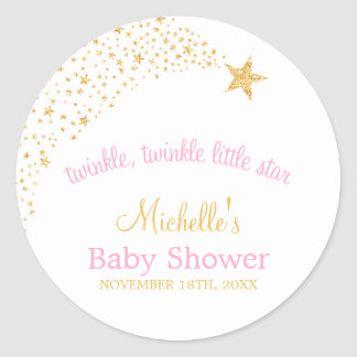 Twinkle Little Shooting Star Gold Pink Baby Shower Round Sticker
