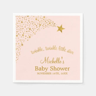 Twinkle Little Shooting Star Pink Gold Baby Shower Disposable Napkin