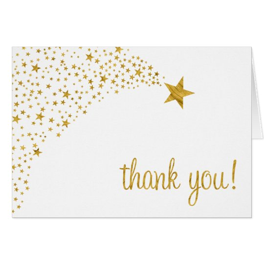 Twinkle Little Shooting Star White Gold Thank You Card