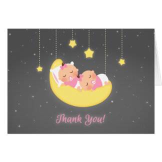 Twinkle Little Star Baby Girl Twins Thank You Card
