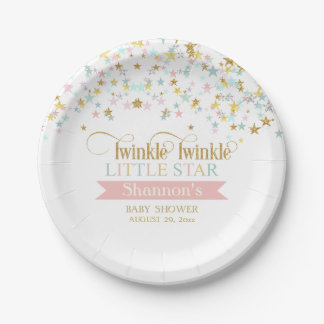 Twinkle Little Star Baby Shower Any Color 7 Inch Paper Plate