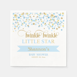 Twinkle Little Star Baby Shower Blue & Gold Disposable Napkin