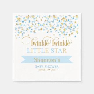 Twinkle Little Star Baby Shower Blue & Gold Disposable Serviettes