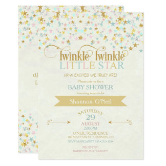 Twinkle Little Star Baby Shower Gold Aqua 13 Cm X 18 Cm Invitation Card