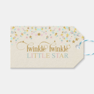 Twinkle Little Star Baby Shower Gold Aqua Pink Gift Tags