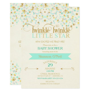 Twinkle Little Star Baby Shower Gold & Mint 13 Cm X 18 Cm Invitation Card
