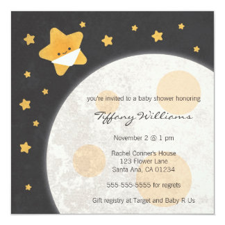 """Twinkle Little Star Baby Shower Invitation 5.25"""" Square Invitation Card"""