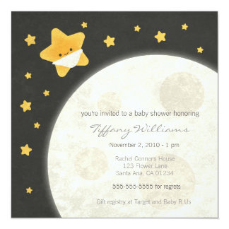 "Twinkle Little Star Baby Shower Invitation 5.25"" Square Invitation Card"