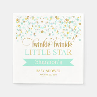 Twinkle Little Star Baby Shower Mint Green Gold Paper Napkin