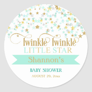 Twinkle Little Star Baby Shower Mint Green & Gold Round Sticker