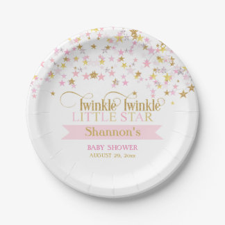 Twinkle Little Star Baby Shower Pink Gold 7 Inch Paper Plate
