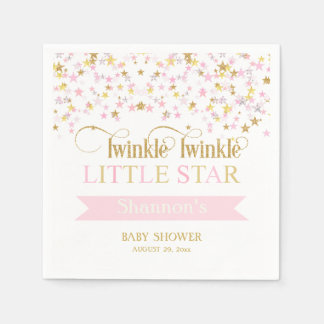 Twinkle Little Star Baby Shower Pink Gold Disposable Serviettes