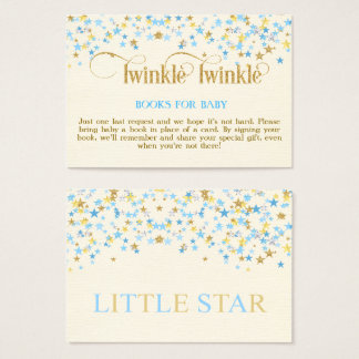 Twinkle Little Star Blue Gold Book Request Card