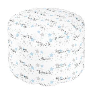 Twinkle Little Star Blue Grey Gray Nursery Rhyme Pouf