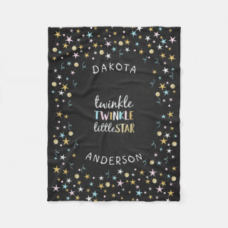 Twinkle Little Star Confetti & Chalk Baby Shower Fleece Blanket