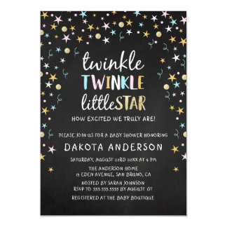 Twinkle Little Star Confetti & Chalk Baby Shower Magnetic Invitations