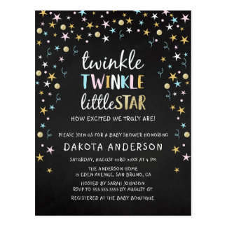 Twinkle Little Star Confetti & Chalk Baby Shower Postcard