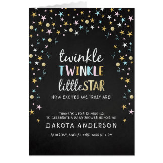 Twinkle Little Star Confetti Chalkboard Thank You Card