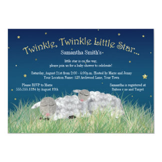 "Twinkle Little Star Cute Sheep Baby Shower 5"" X 7"" Invitation Card"
