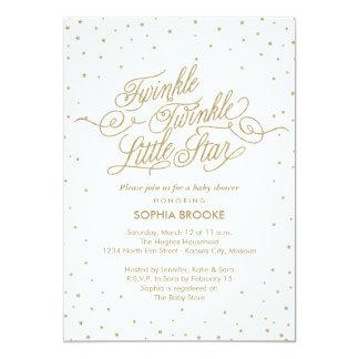 Twinkle Little Star Fancy Gold & White Baby Shower 13 Cm X 18 Cm Invitation Card