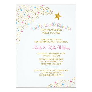Twinkle Little Star Gender Reveal Baby Shower 13 Cm X 18 Cm Invitation Card